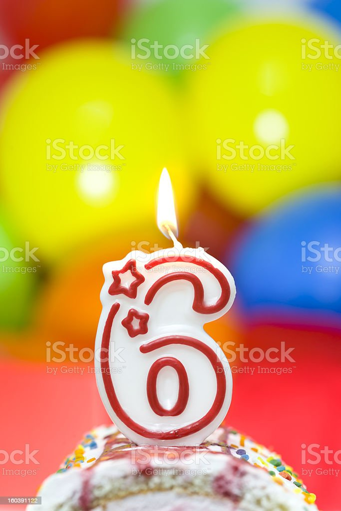 Cake for sixth birthday royalty-free stock photo