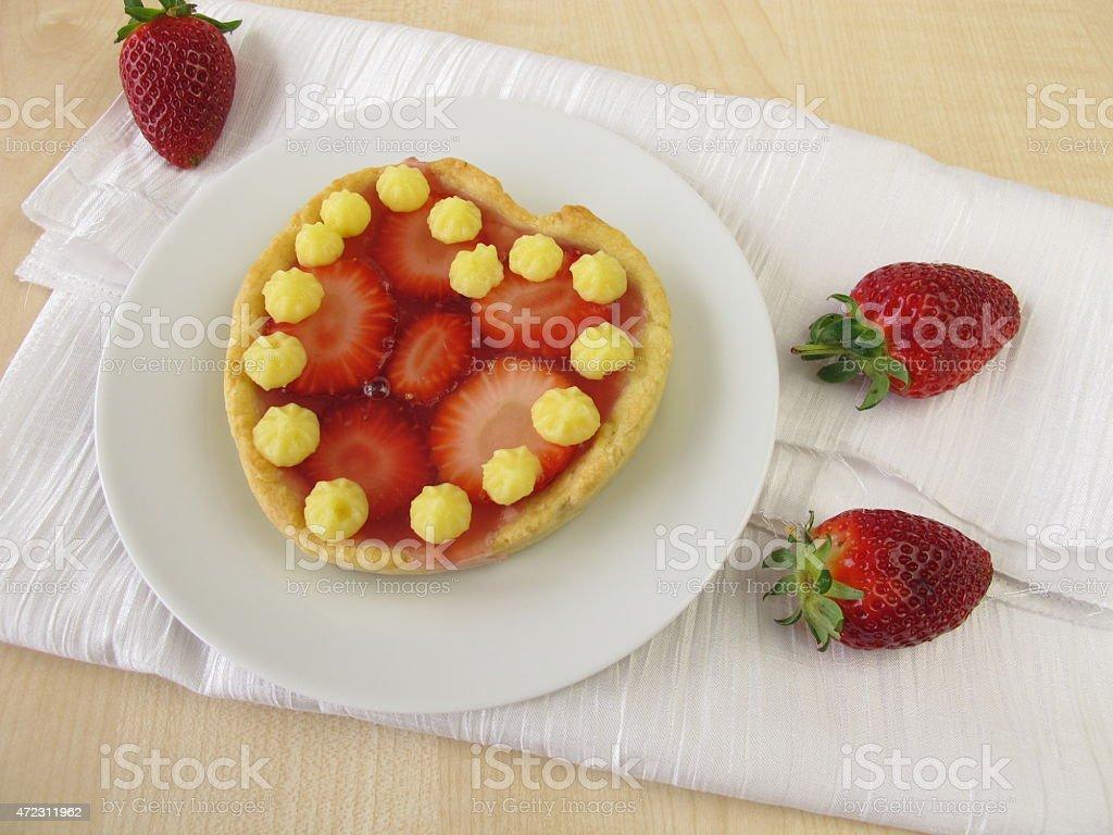 Cake heart with strawberries stock photo