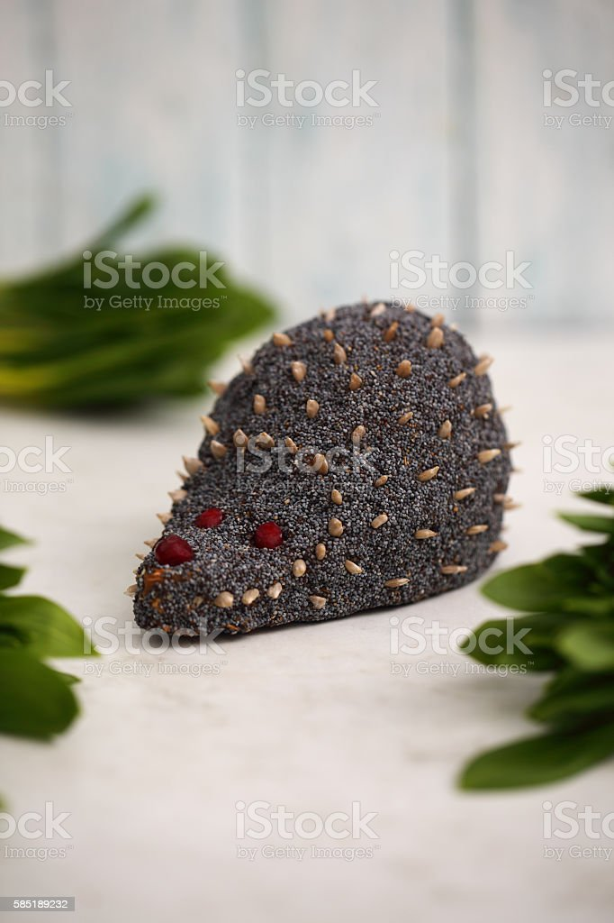 Cake in the shape of a hedgehog stock photo