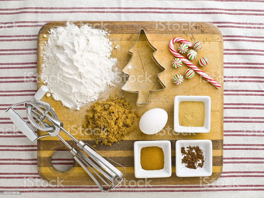 cake ingredient with cookie cutter candy cane a stock photo