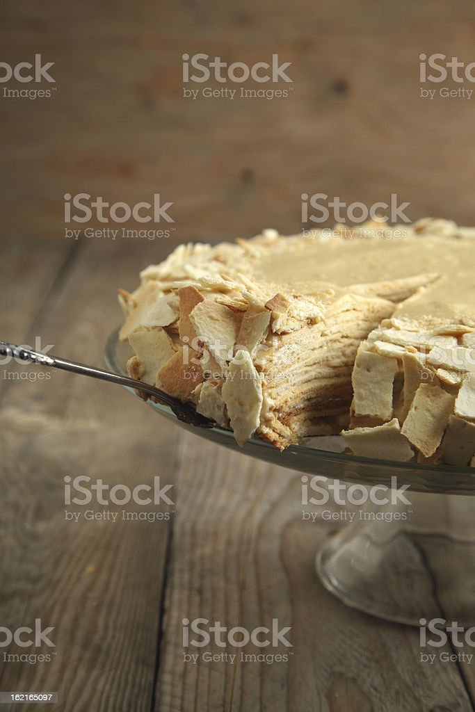 Cake Napoleon of puff pastry with cream royalty-free stock photo