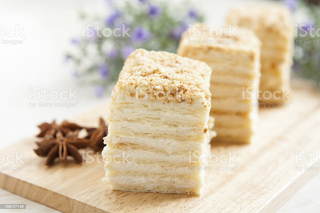 Cake Napoleon of puff pastry with sour cream royalty-free stock photo