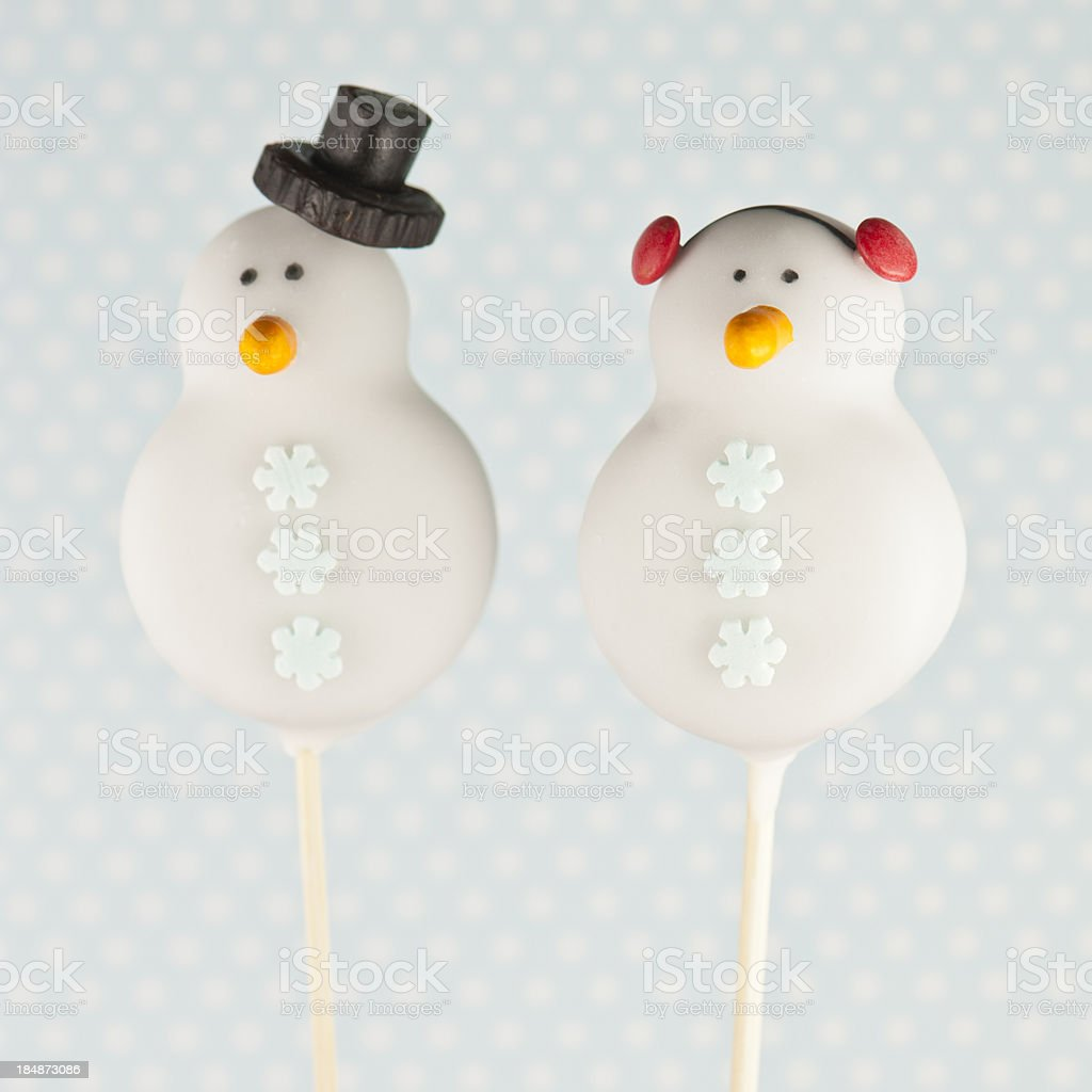 Cake pop snowmen stock photo