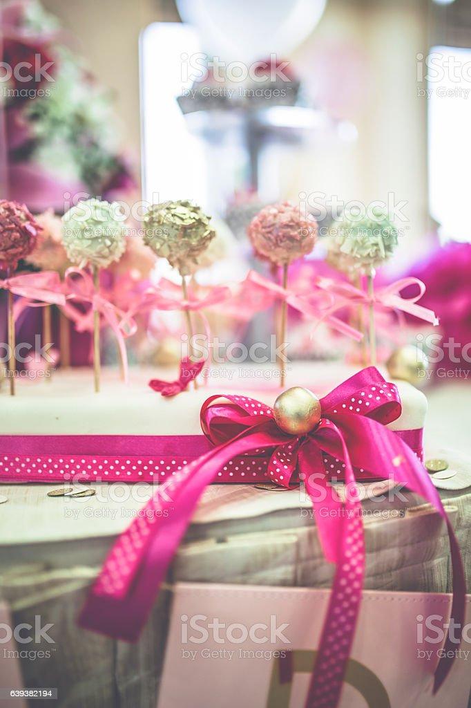 Cake pops - candy sticks stock photo