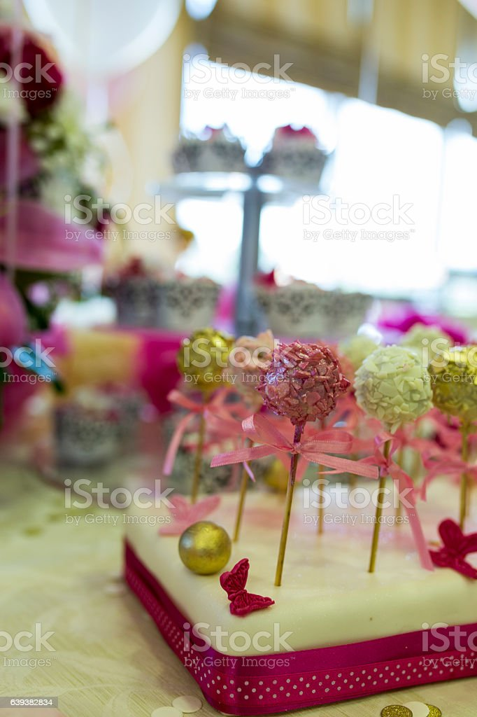 Cake pops - candy sticks stock photo