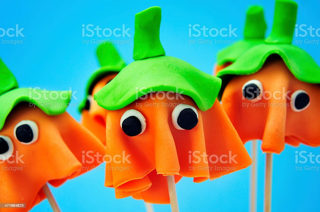 cake pops with the shape of ghost Halloween pumpkins royalty-free stock photo