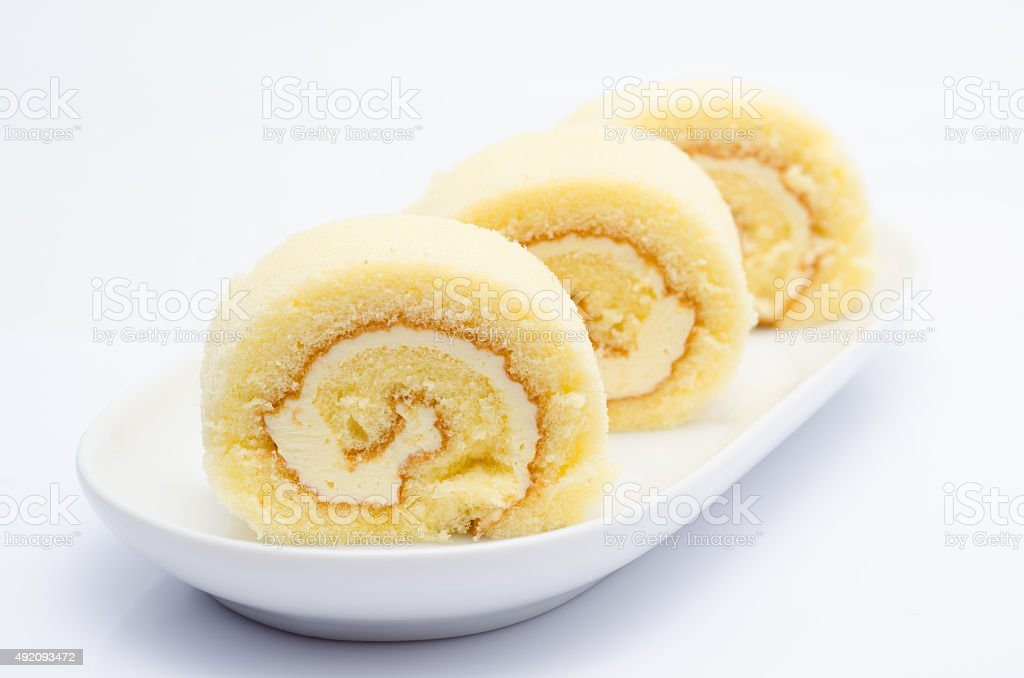 cake roll close up stock photo
