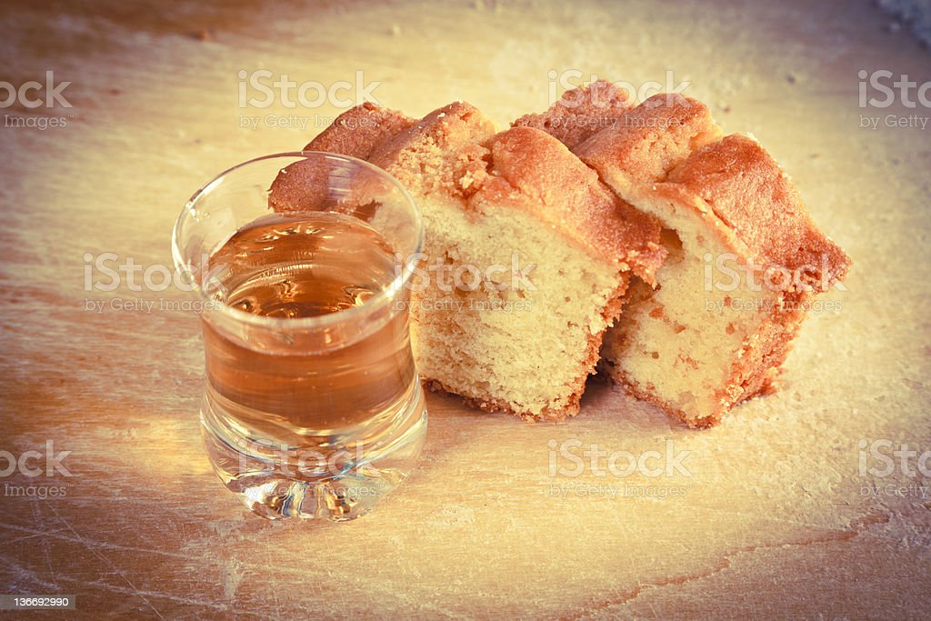 Cake Slices and Dessert Wine Glass royalty-free stock photo