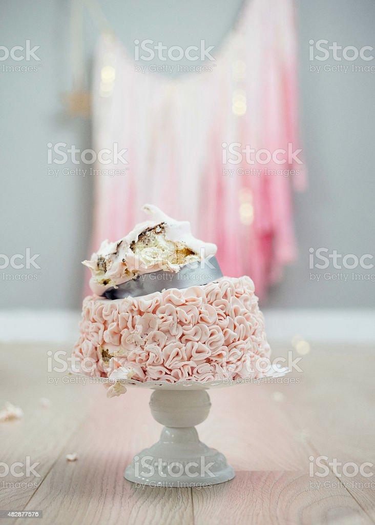 Cake smash aftermath. stock photo