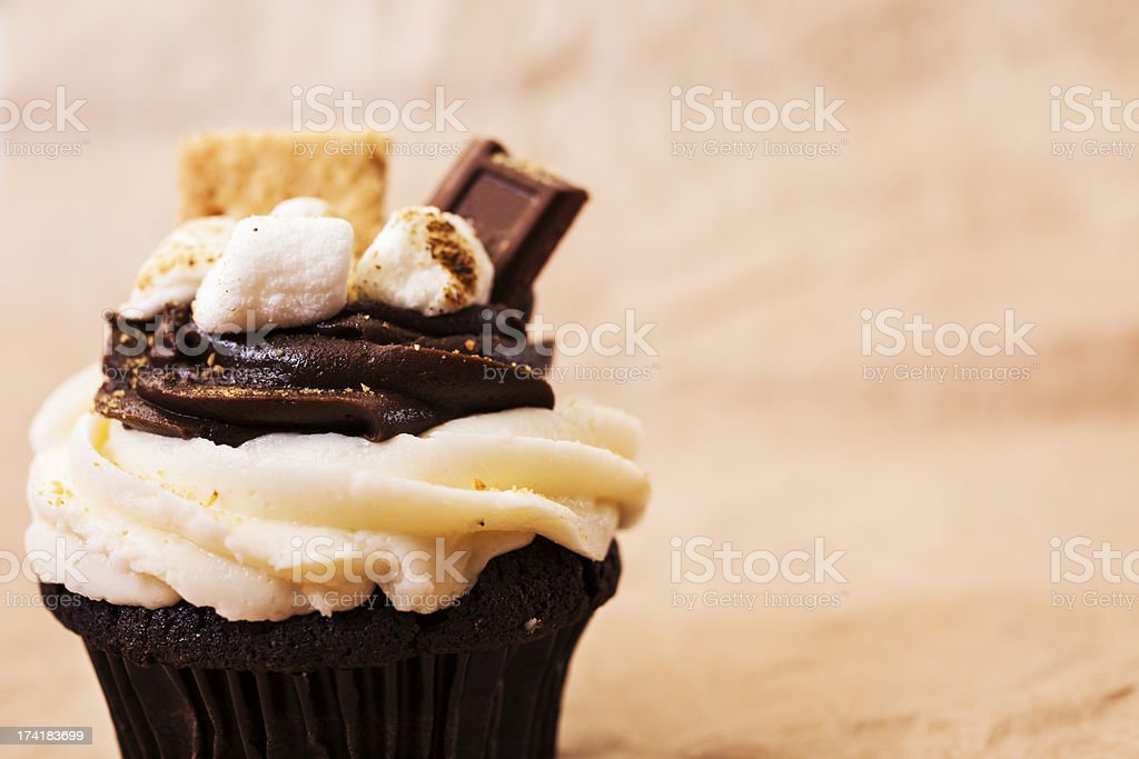 Cake:  Smores cupcake with copyspace on right.  Marshmallows, chocolate. royalty-free stock photo