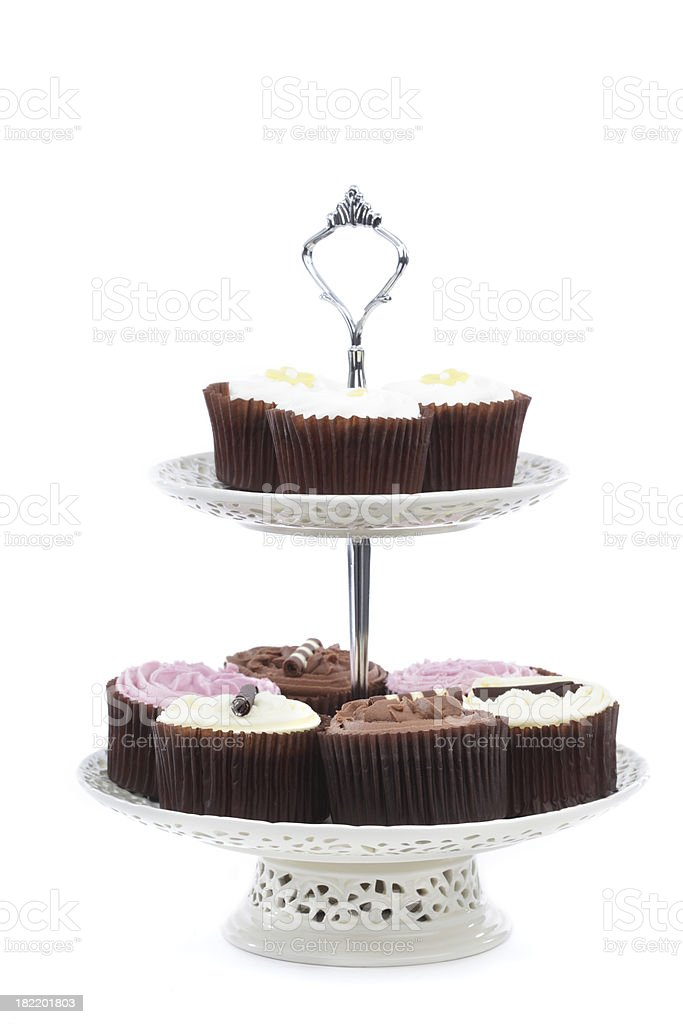 Cake Stand with Cupcakes Isolated royalty-free stock photo