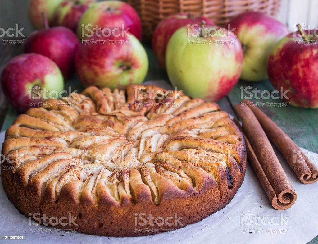 cake with apples and cinnamon stock photo