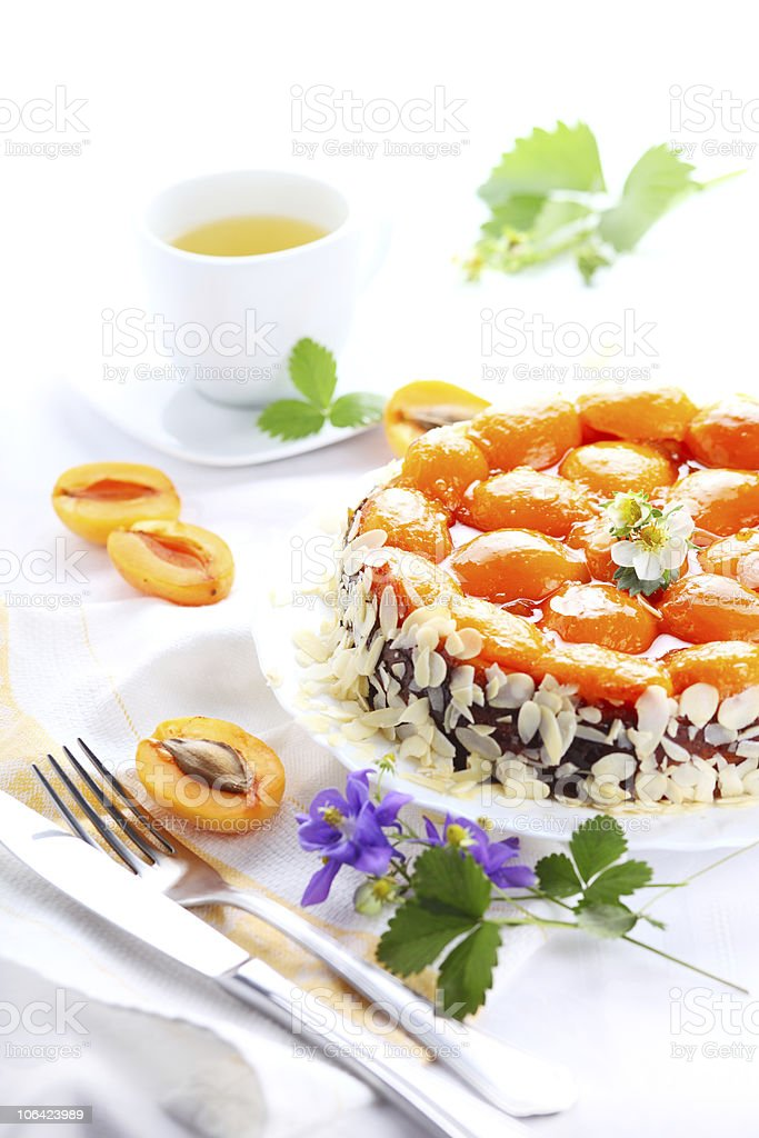 Cake with apricots isolated on white background stock photo