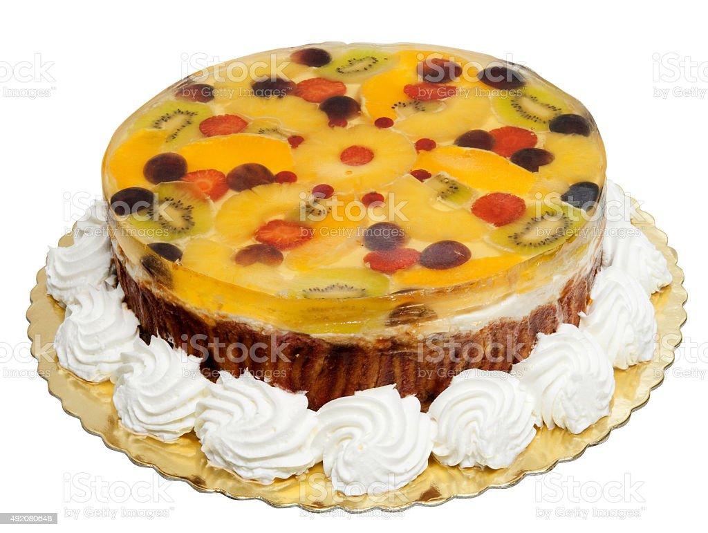Cake with banana, oranges, kiwi and jelly stock photo