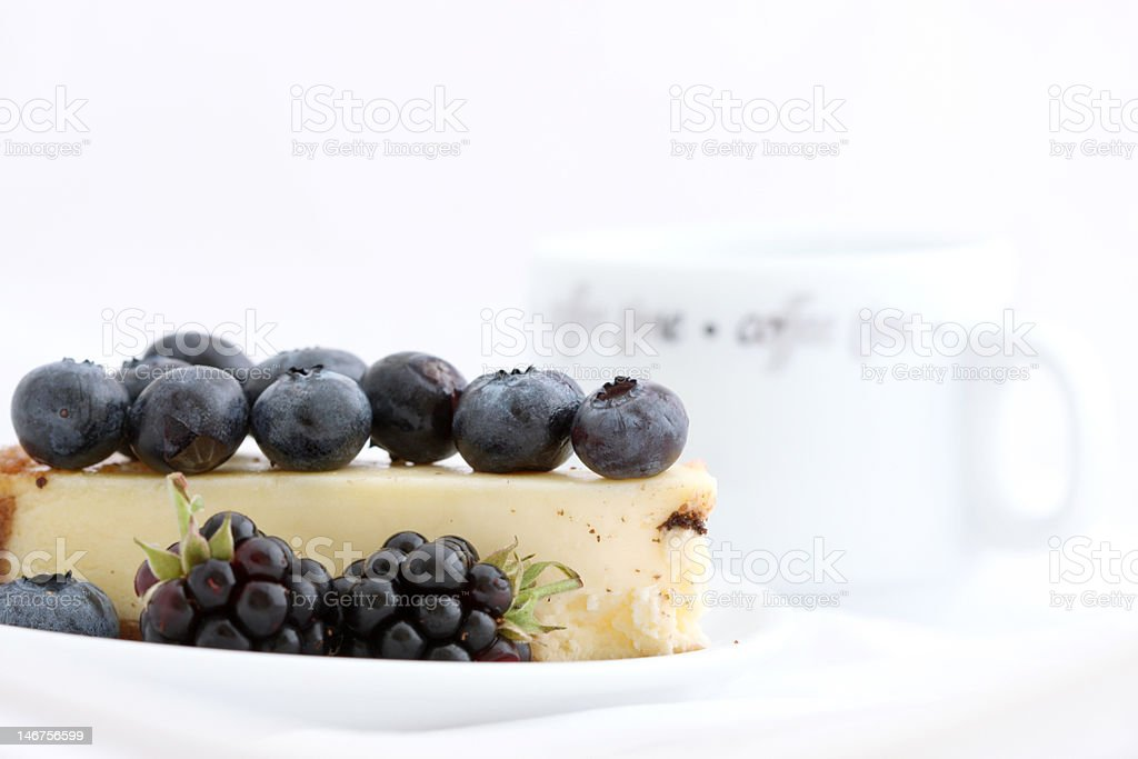Cake with berries and coffee royalty-free stock photo
