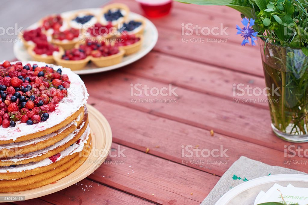 Cake with berries stock photo