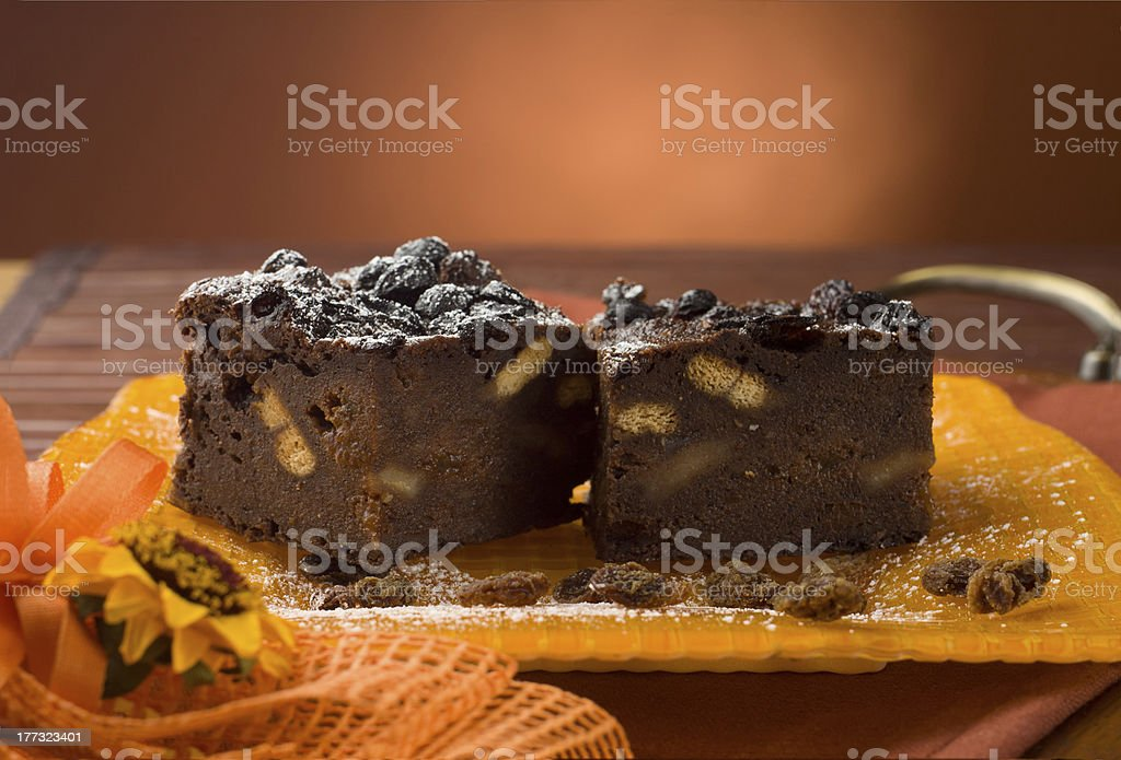 Cake with bread, cocoa, biscuits and sultanas royalty-free stock photo