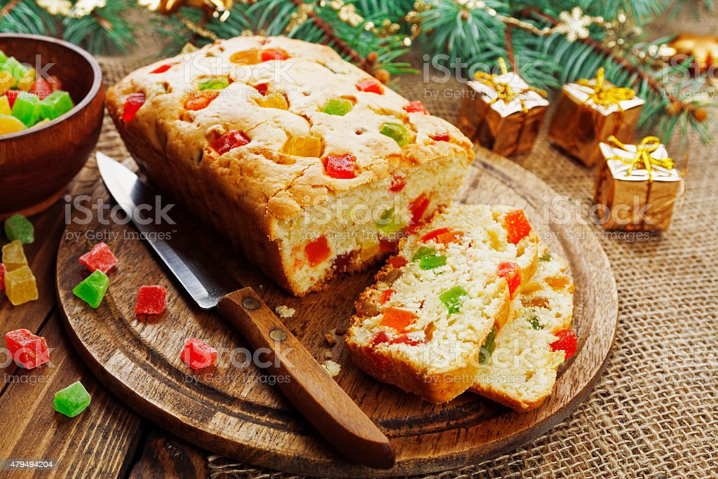 Cake with candied fruit stock photo