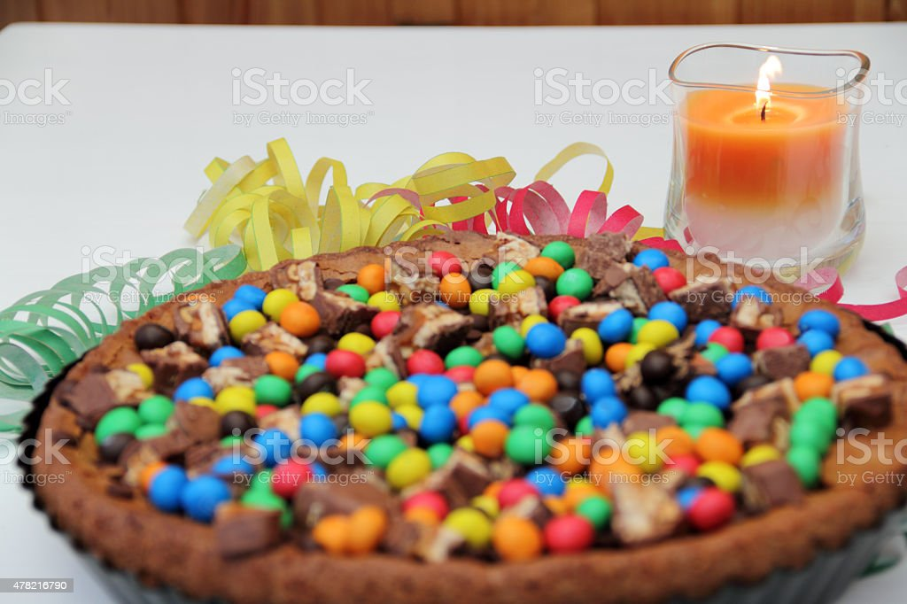 cake with candle stock photo