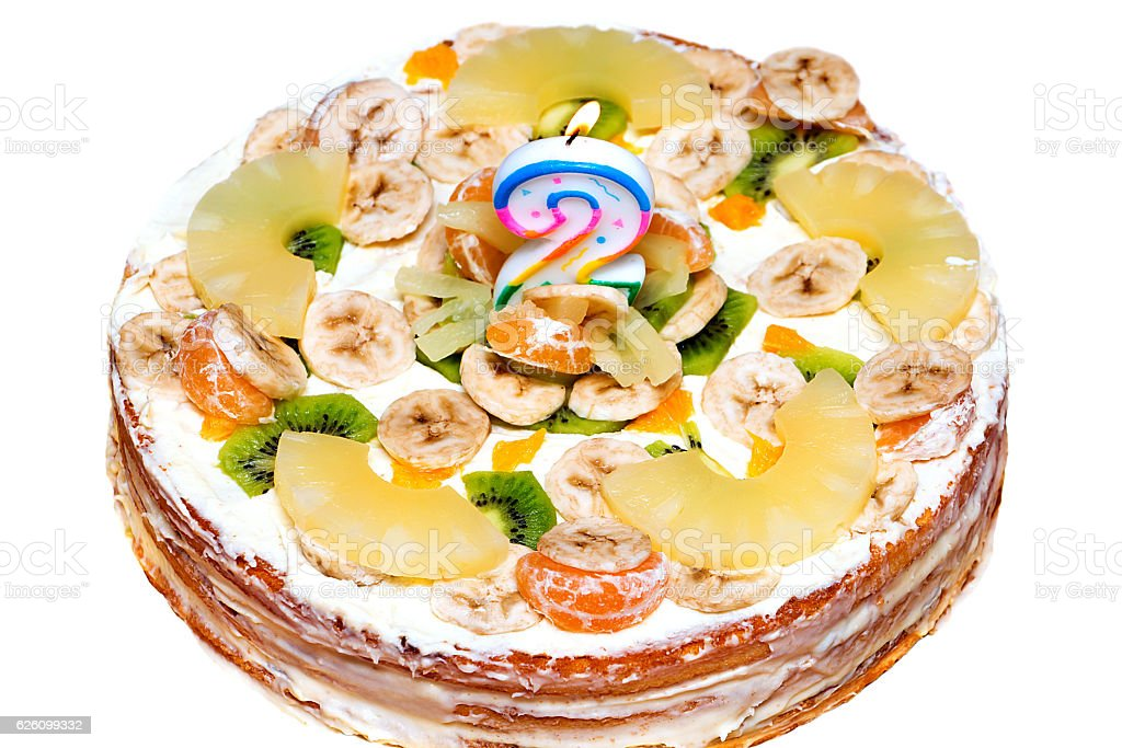 cake with candles stock photo