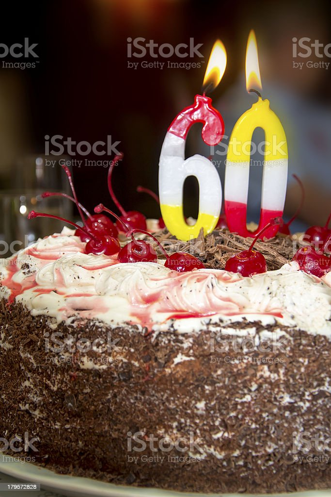 Cake with cherry and chocolate royalty-free stock photo