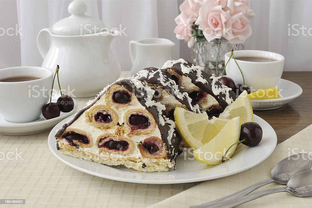 Cake with cherry chocolate, coconut royalty-free stock photo