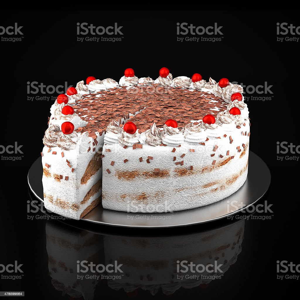 Cake with chocolate chips stock photo