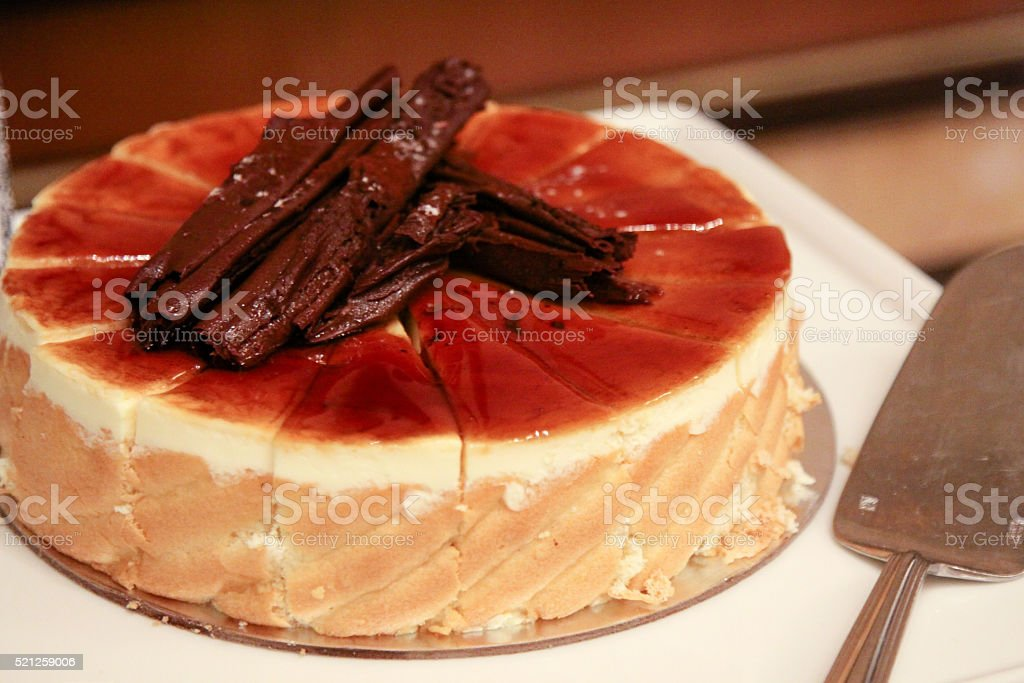 Cake with chocolate topping stock photo