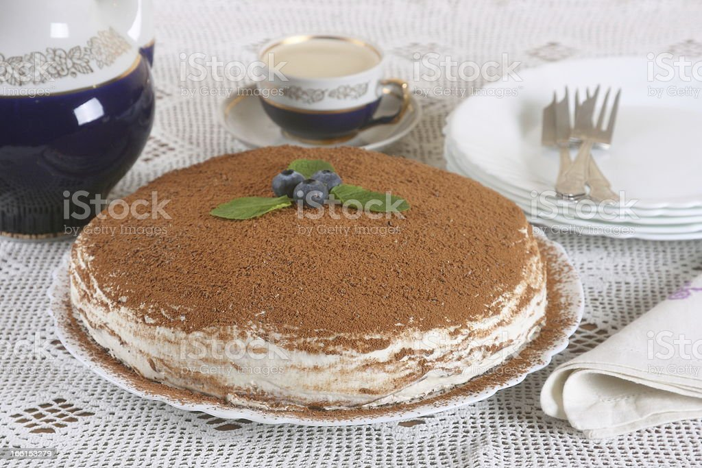 cake with cream and cocoa powder royalty-free stock photo
