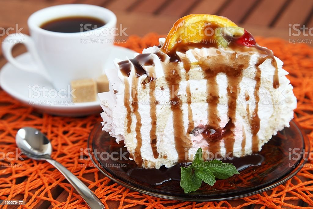 Cake with cream and fruit royalty-free stock photo