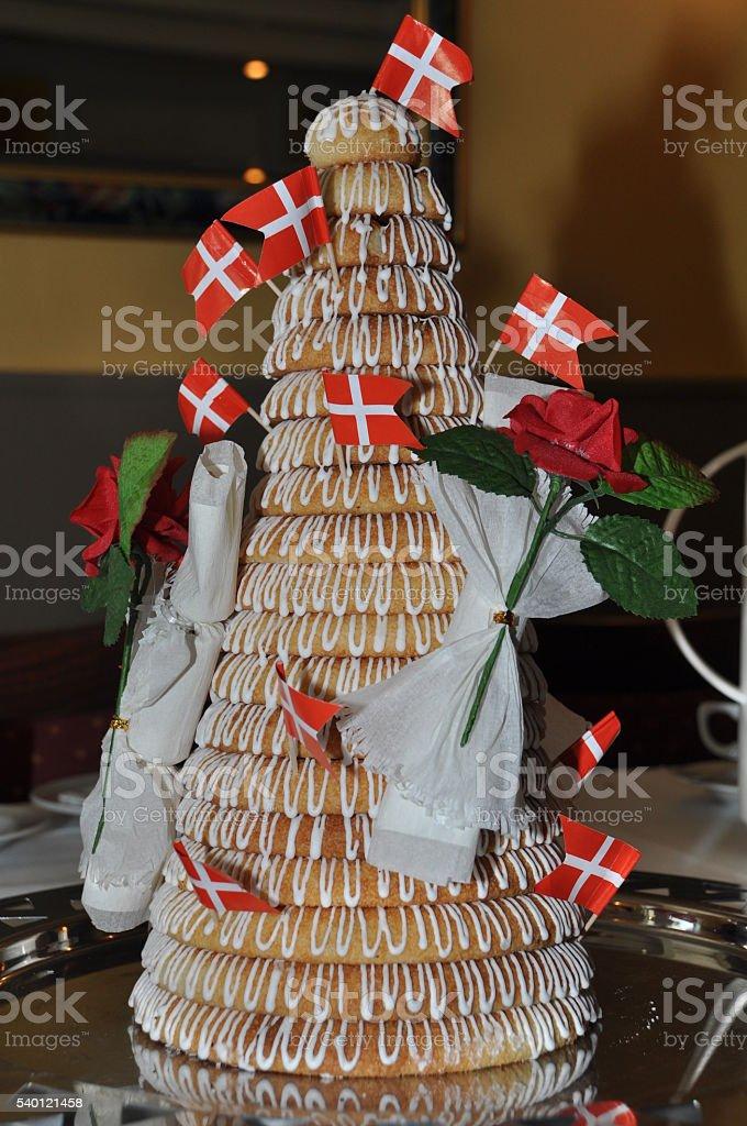 Cake with Danish flags stock photo