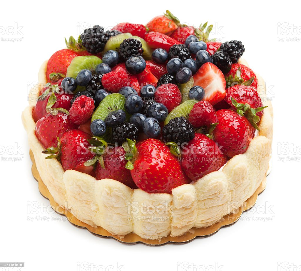 Cake with fruit topping stock photo