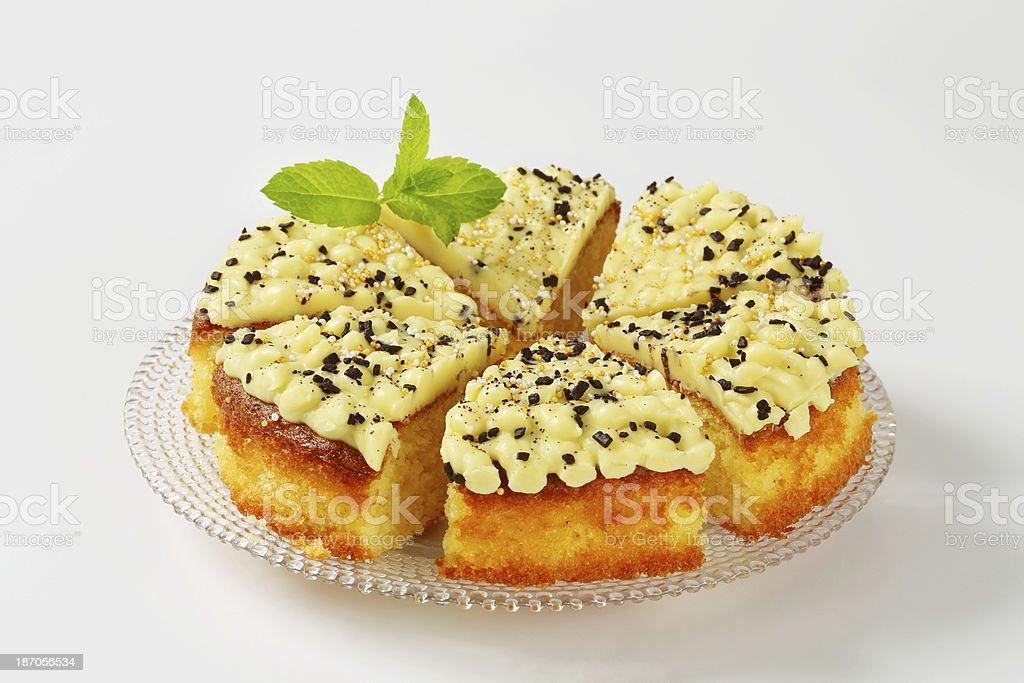 Cake with lemon icing stock photo