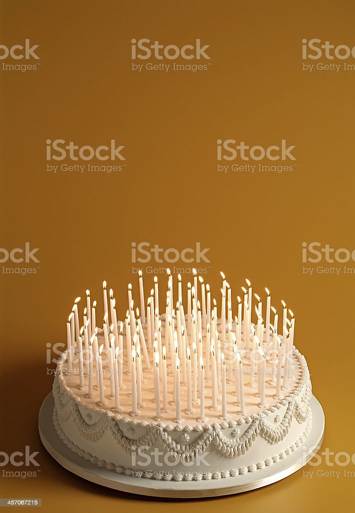 cake with lighted candles stock photo