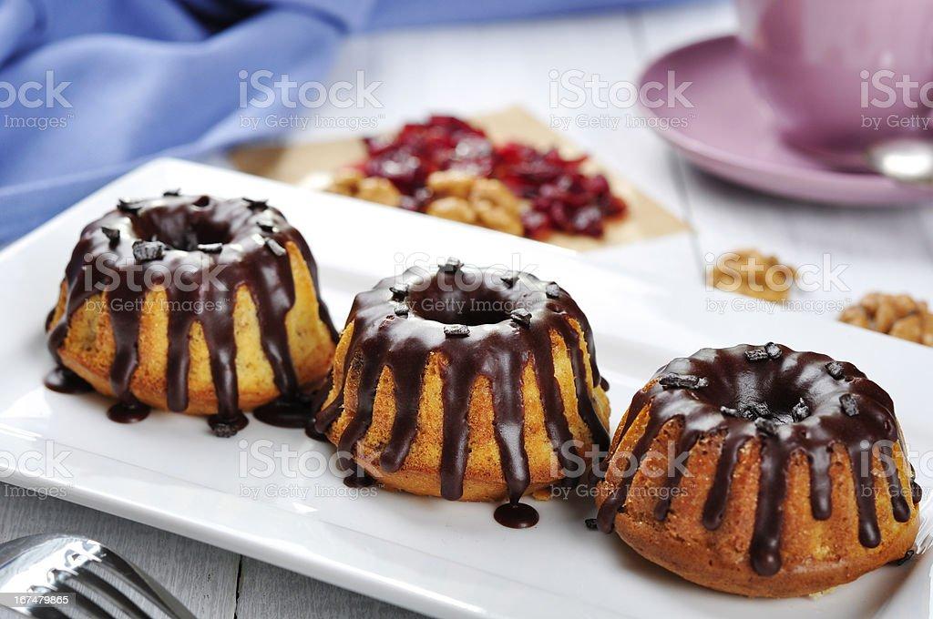 Cake with melted chokolate icing royalty-free stock photo