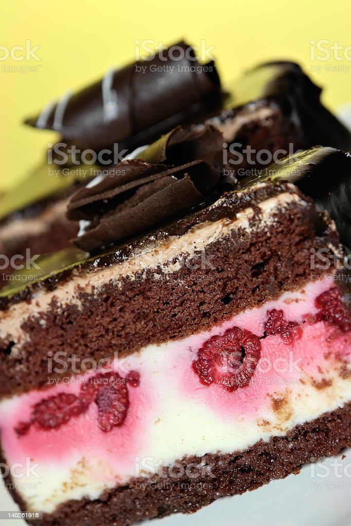 Cake with raspberries and chocolate royalty-free stock photo