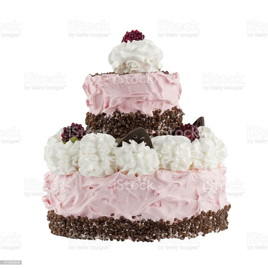 Cake with raspberries; Clipping path royalty-free stock photo