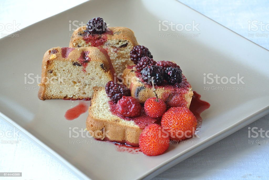 Cake with Red Fruit stock photo