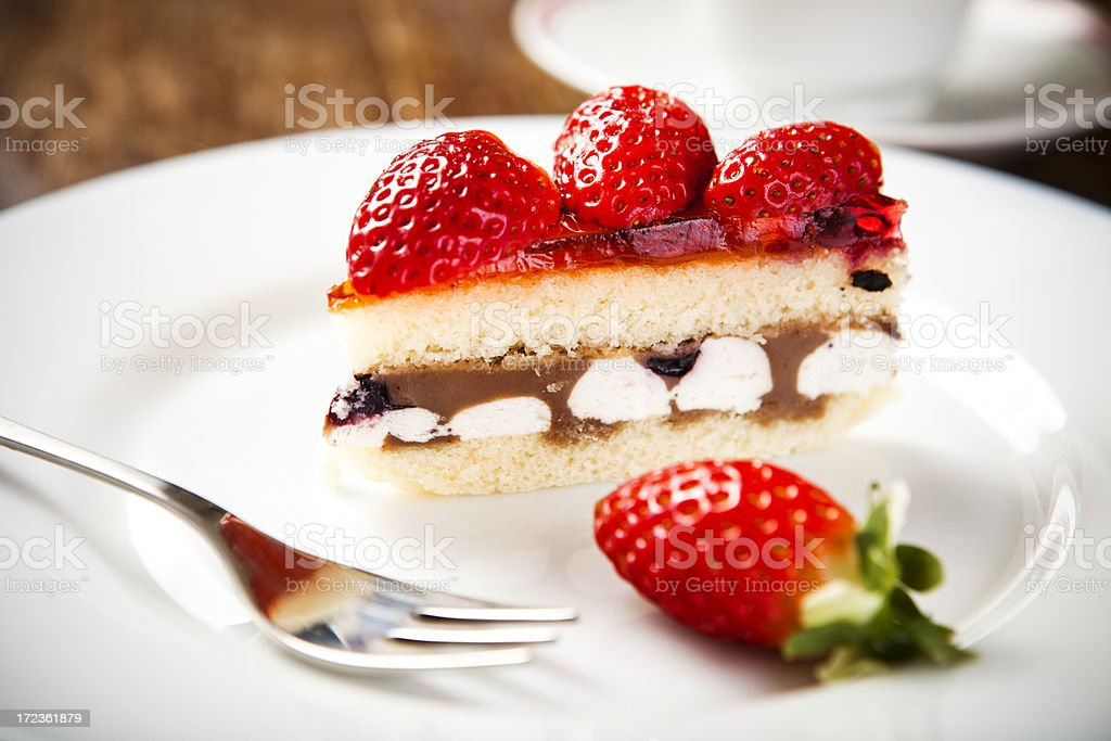 Cake with strawberries royalty-free stock photo