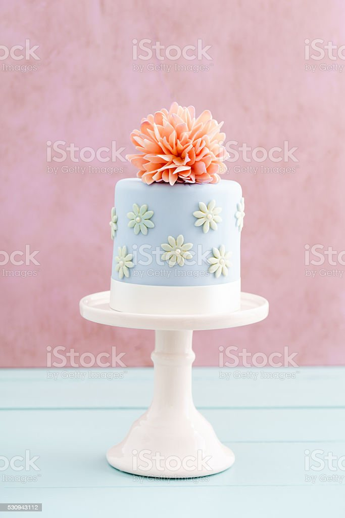 Cake with sugar flower stock photo
