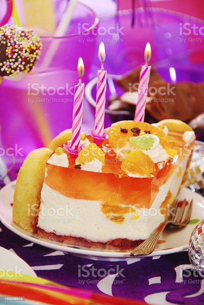cake with three candles on birthday party table for child royalty-free stock photo
