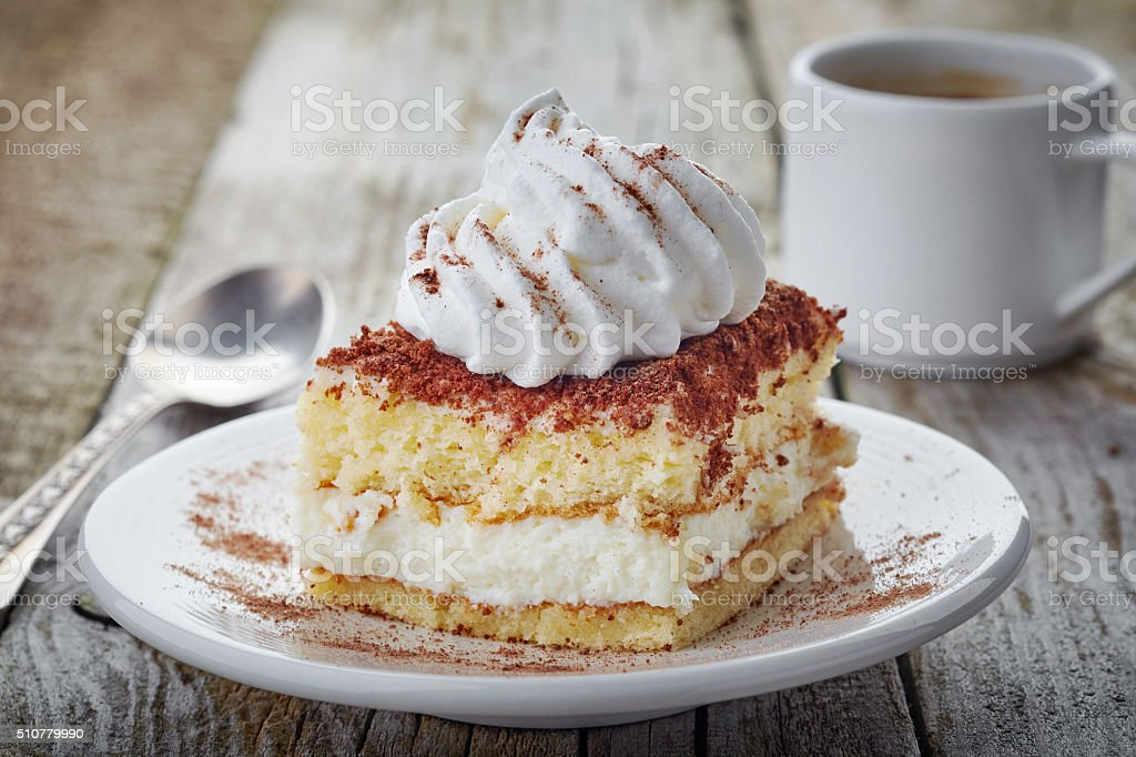 cake with whipped cream stock photo