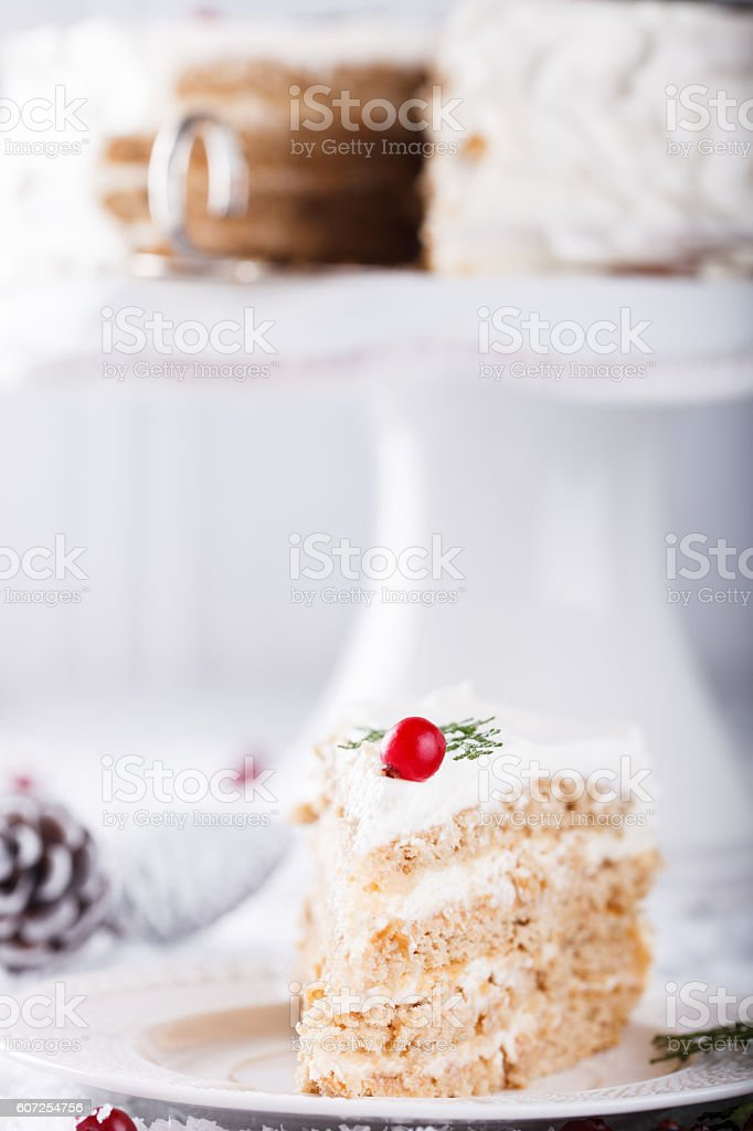Cake with white cream.Baking for Christmas. stock photo