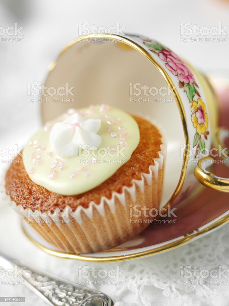 Cake,Cup and Saucer royalty-free stock photo