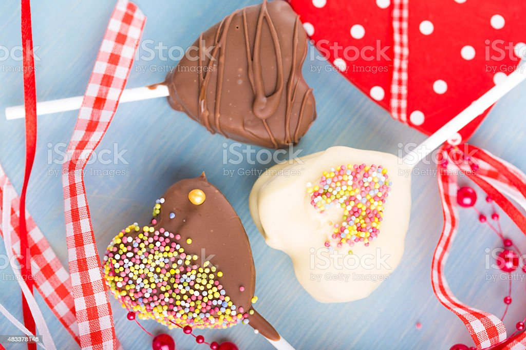 Cake-pops heart-shaped for Valentine's Day stock photo