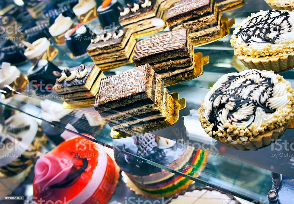Cakes and cookies in bakery stock photo