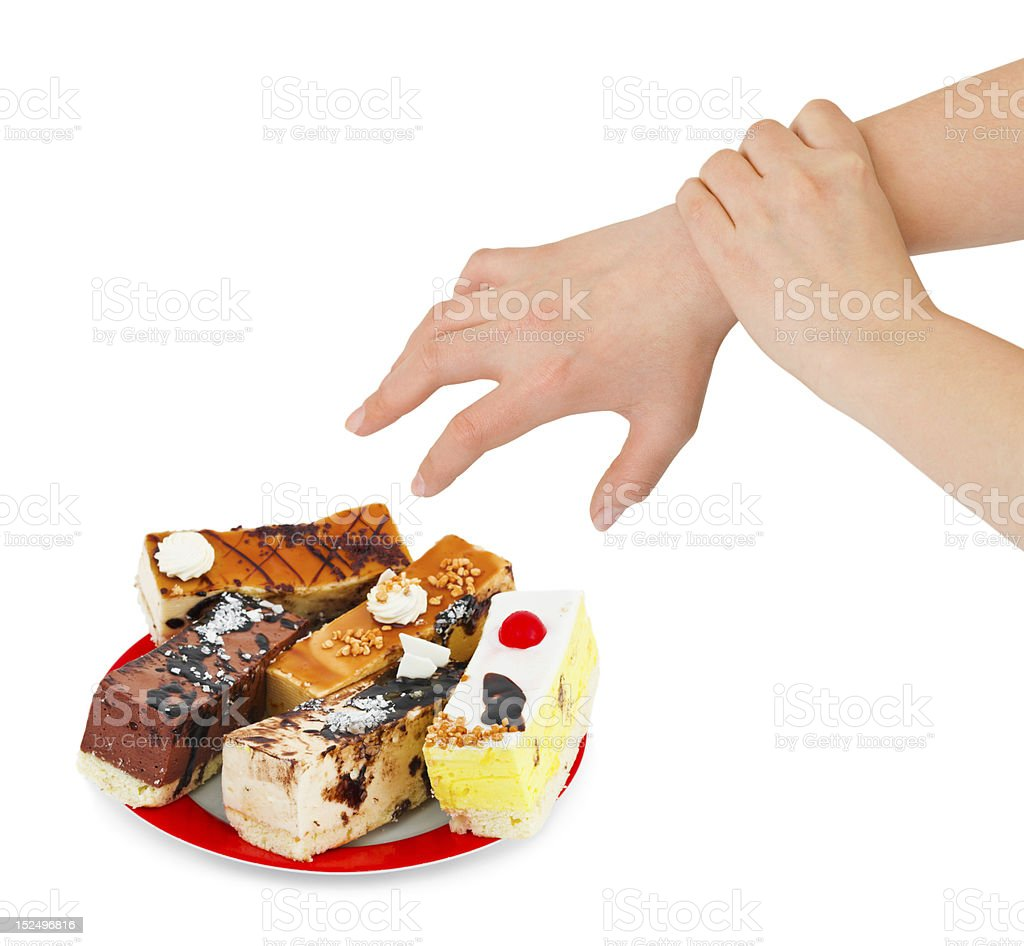 Cakes and hands royalty-free stock photo