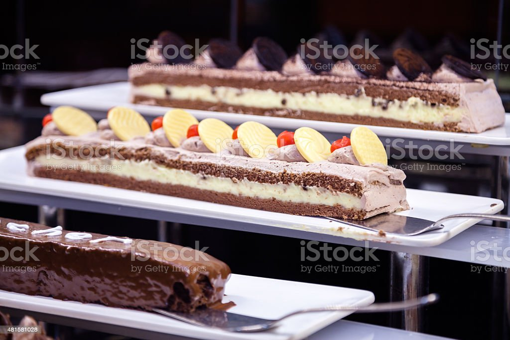 Cakes on buffet stock photo