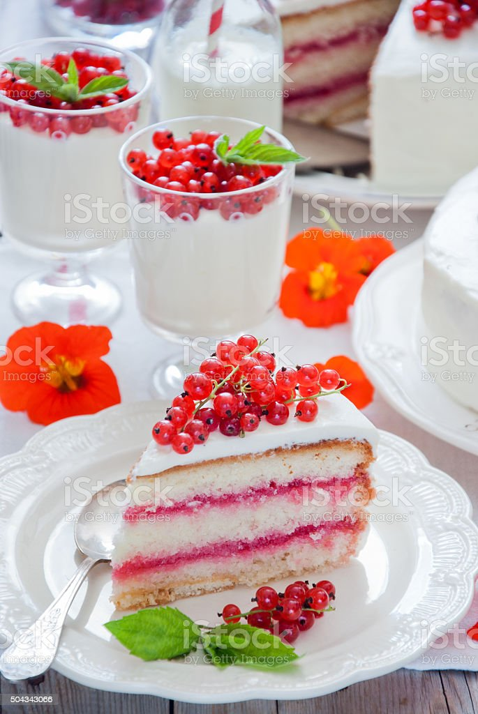 Cakes with red currant stock photo