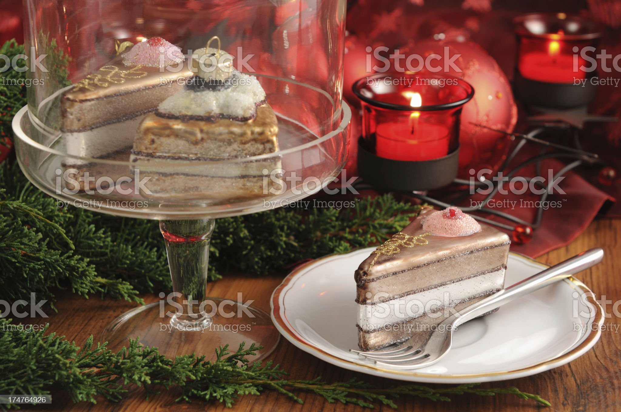 Cakestand with Christmas ornament glass pastry royalty-free stock photo